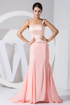 Double Straps Sheath Full Length Peach Prom Dress
