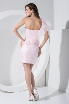Pretty One Shoulder Pearl Pink Cocktail Dress