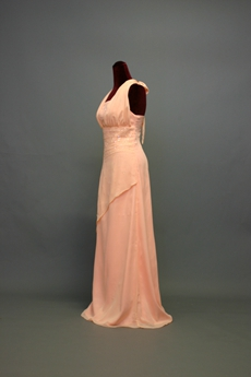 Modest Coral Chiffon Mother Of The Bride Dresses