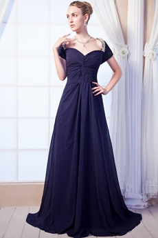 Short Sleeves Dark Navy Chiffon Mother Of The Bride Dress