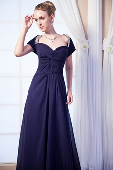 Short Sleeves Dark Navy Chiffon Mother Of The Bride Dress