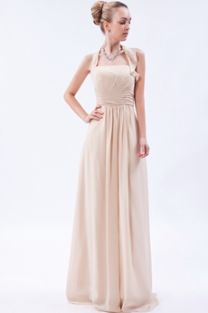 Elegance Top Halter Column Champagne Chiffon Formal Evening Dress