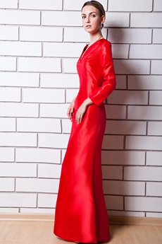 V-Neckline Red Satin Long Sleeves Mother Dress