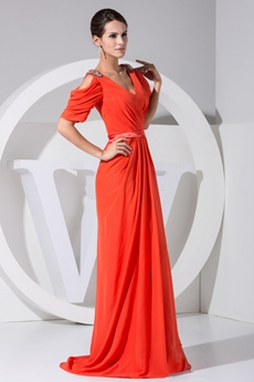 Half Sleeves Column Full Length Orange Mother Of The Bride Dress