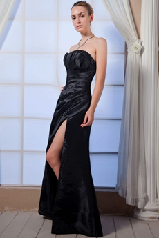 Affordable A-line Black Satin Prom Dress Front Slit