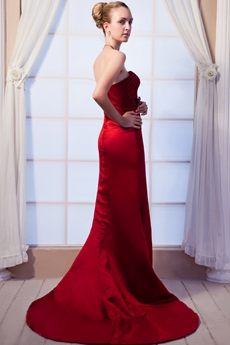 A-line Burgundy Prom Dress With Beads