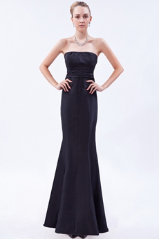Elegance Strapless Mermaid Black Prom Dress With Bowknot