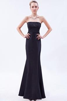 Elegance Strapless Mermaid Black Prom Dress With Bowknot