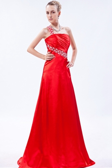 One Shoulder Red Satin Formal Evening Dress
