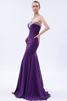 Graceful Sweetheart Mermaid Purple Prom Party Dress With Beads