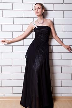 A-line Black College Graduation Dress One Straps