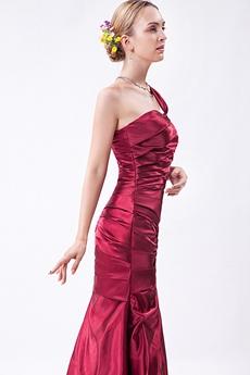 One Straps Satin Mermaid Prom Dress Pleated Bodice