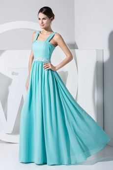 Column/Straight Full Length Blue Chiffon Prom Party Dress