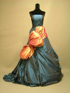 Special Blue Wedding Dresses With Orange Bowknot