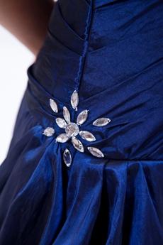 Elegance Strapless Dark Royal Blue Taffeta Princess Quince Dress