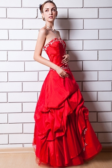 Lovely Red Taffeta Quinceanera Dress With White Appliques
