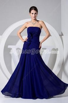 Charming Strapless Chiffon Navy Wedding Guest Dress