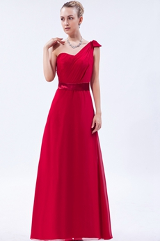 A-line One Shoulder Red Chiffon Bridesmaid Dress With Sash