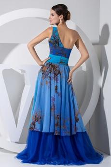 Unique One Straps Royal Blue Printed Chiffon Prom Dress