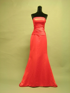 Magnificent Strapless Red Satin Bridesmaid Dresses