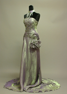 Pretty Grey Organza Strapless Evening Dresses With Ruched Bodice