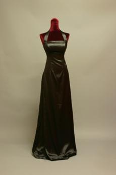 Simple Halter Satin A-line Evening Dress