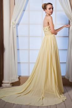 Pretty Sweetherat A-line Yellow Chiffon Prom Pageant Dress