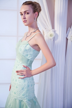 Dazzling Long Sage Organza Prom Dress With Beads