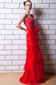 Straight/Column Full Length Red Organza Evening Dress