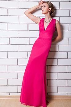 Cut Out Back Fuchsia Mother Of The Bride Dress V-Neckline