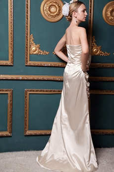 Elegance A-line Champagne Satin Formal Evening Dress Front Slit