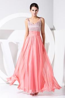 Charming Watermelon Straps A-line Long Evening Dresses