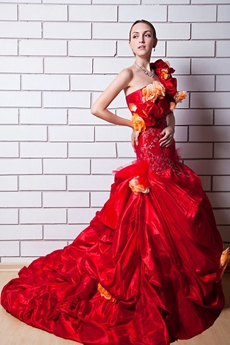 Gothic One Shoulder Red Quinceanera Dress With Orange Flowers