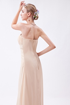 Simple Champagne Chiffon High Low Junior Prom Dress