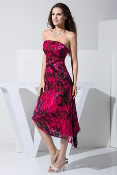 Unique Strapless Printed Chiffon High Low Cocktail Dress