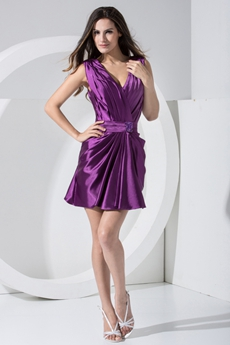 Mini Length Purple Satin Graduation Dress For High School