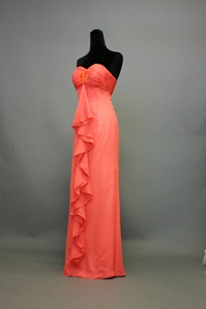 Charming Watermelon Sweetheart A-line Bridesmaid Dresses With Ruffles