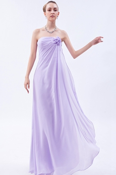 Lovely Strapless Lilac Long Bridesmaid Dress