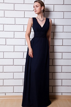 Popular Dark Navy Bridesmaid Dress V-Neckline