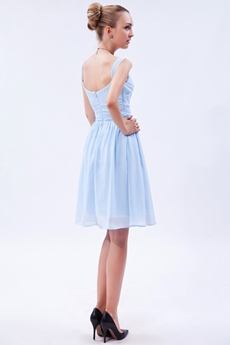 Cute Knee Length Light Sky Blue Junior Bridesmaid Dress