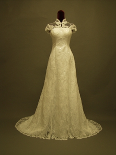 Vintage High Neckline Cap Sleeves Lace Bridal Dresses
