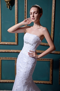Classy Strapless Mermaid/Fishtail Lace Wedding Dress With Beads