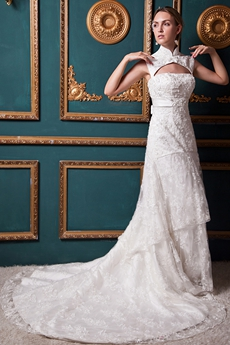 Detachable Neckline Lace Wedding Dress With Beads