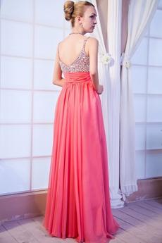 Luxury Spaghetti Straps Watermelon Chiffon Junior Prom Dress With Beads