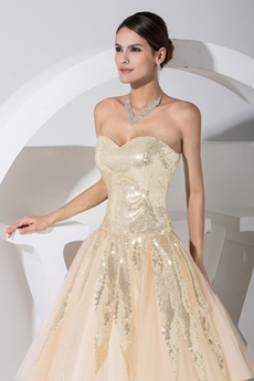 Cheap Modern Strapless Champagne Quinceanera Dresses