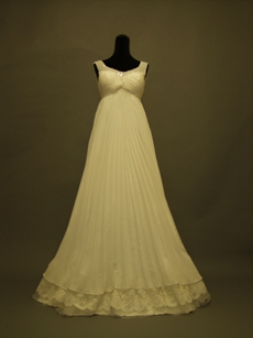 Unique Scoop Empire Pleated Maternity Wedding Dresses