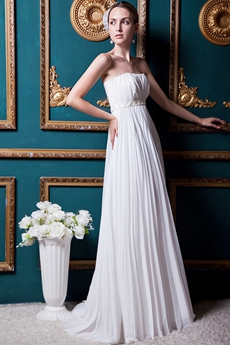 Grecian Empire Full Length Maternity Wedding Dress With Beads