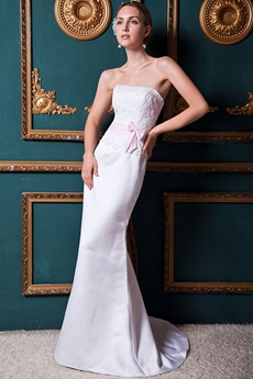 Noble Sheath Full Length Satin Wedding Dress With Lace
