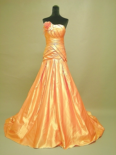 Unique Orange A-line Ball Dresses With Handmade Flowers