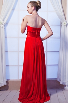 Column Red Chiffon Junior Prom Party Dress